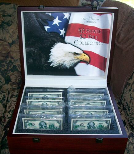 US 50 State $2 Bill Set in Orig Mahogany Case   8 Bill Starter Collection