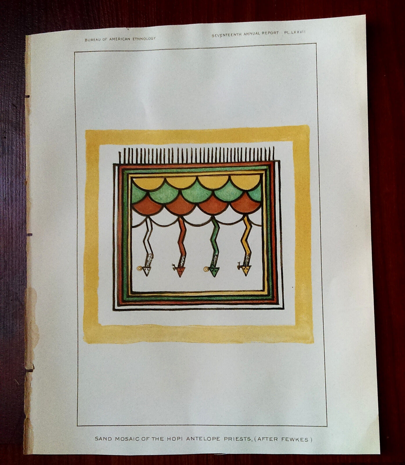 Late 1800s Color Book Plate, Sand Mosaic,The Hopi Antelope Priests, After Fewkes