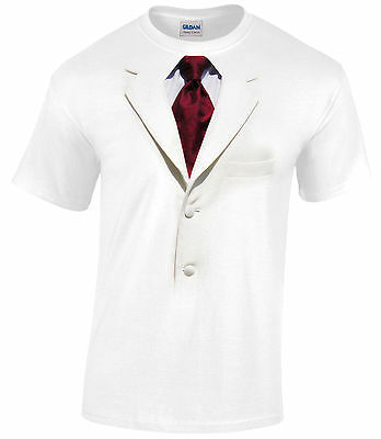 Mens White Tuxedo Shirt (WHITE TUXEDO DESIGN FANCY DRESS MENS T SHIRT STAG XMAS CHRISTMAS PARTY )