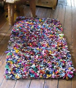 Shaggy Rag Rug Large Indian Multi Colour Recycled Fair Trade Vintage Wallhanging