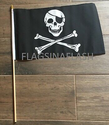 Jolly Roger Pirate Skull Crossbones Flag Mini Stick Flag 12inx18in FAST USA SHIP Skull Crossbones Pirate