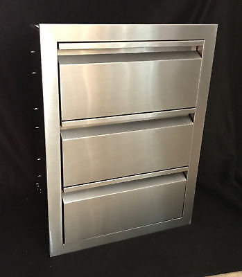 "TRIPLE DRAWER OUTDOOR KITCHEN BBQ Cay 304 STAINLESS STEEL 19""W x 26""H"