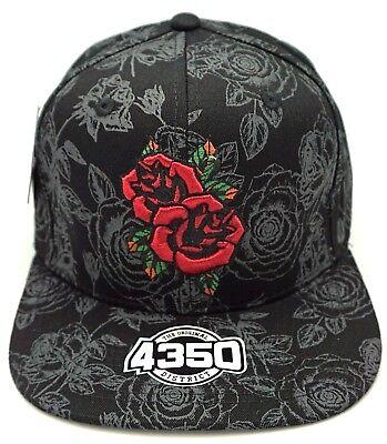 ROSE Flower Snapback Ball Cap Hat Embroidered Flat Bill Black NWT