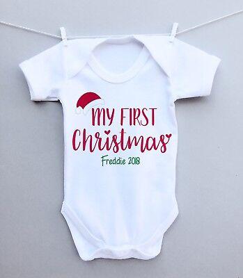 PERSONALISED BABY vest, sleepsuit, pyjamas, t-shirt my first 1st CHRISTMAS hat