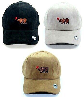 CALIFORNIA REPUBLIC BEAR SUEDE HAT BASEBALL CAP 100% COTTON ADJUSTABLE STRAP Cotton Suede Cap