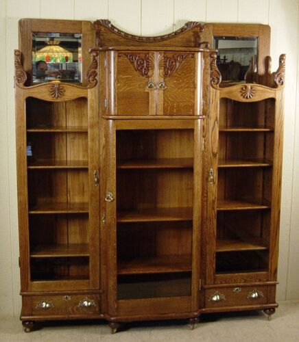 Antique Victorian Oak Three Door Bookcase