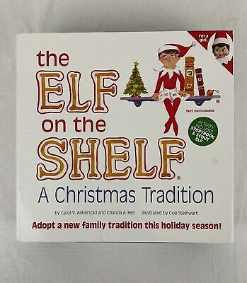 Elf on The Shelf A Christmas Tradition Toy Figure Girl Brown Hair Blue Eyes Book