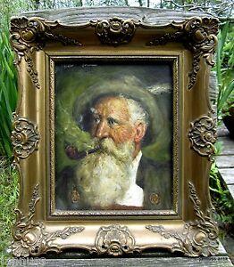 altes Ölgemälde Prunkrahmen Mann mit Bart und Pfeife signierte Künstlerarbeit