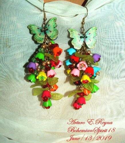 Arturo E.Reyna Buttercup CHARMS Czech Glass beads HANDCRAFTED Hanging Earrings