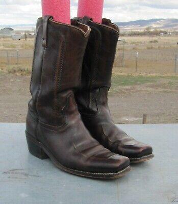 Vtg ACME Brown Leather Square Toe Biker Rockabilly Campus Cowboy Boots Men's 9 E
