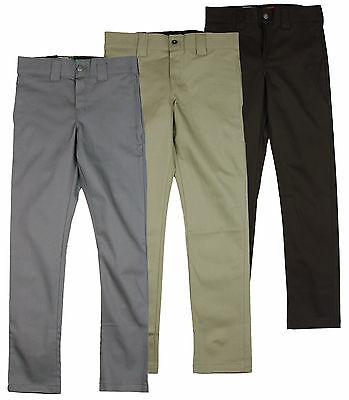Dickies Men's Slim Skinny Stretch Twill Work Pants Khaki Pant - 3 Colors