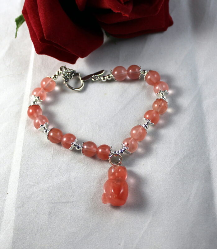 Artisan Pink Cherry Quartz    Beaded  Cat Charm Bracelet  CAT RESCUE