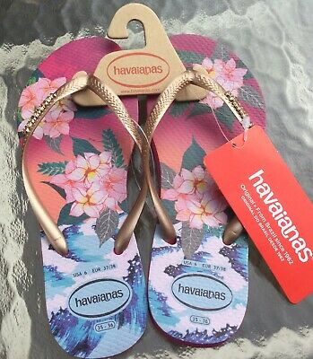 NEW Havaianas Slim Tropical Sunset Flip Flops Hollywood Rose Summer Sandals Sz 6