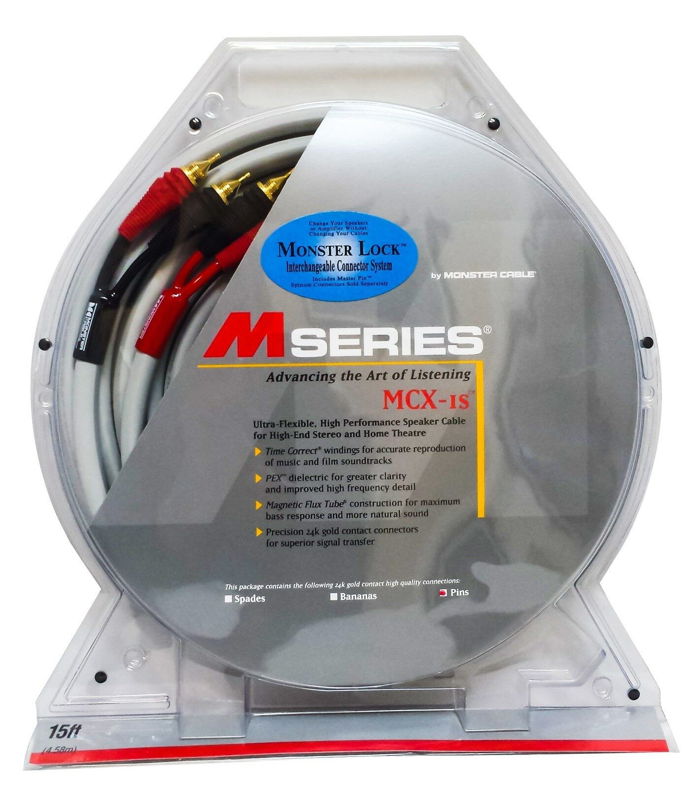 Monster M Series MCX-1S 15/15 Speaker Cables w/ Master Pin ...