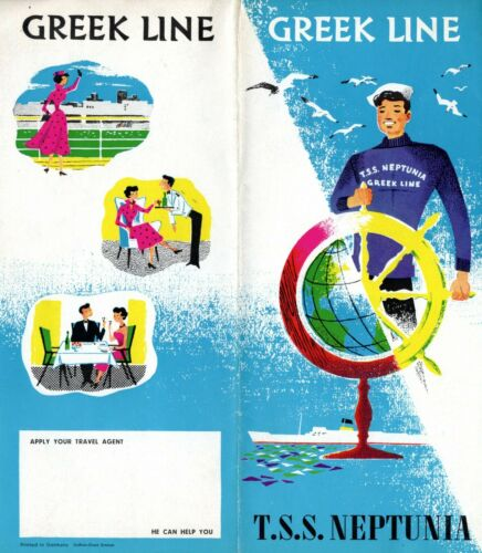 1950s Greek Line NEPTUNIA Interiors Brochure w/ Color Photos - Excellent