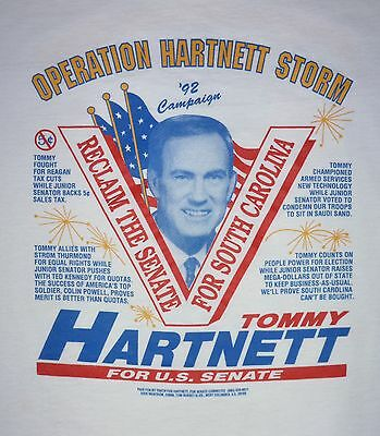 Vintage 1992 Campaign T Shirt - Tommy Hartnett US Senate - South Carolina - XL