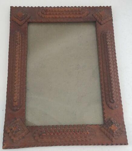 "Antique Handmade Wood TRAMP ART Picture Frame nice 11"""