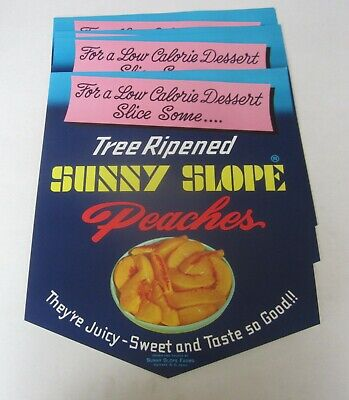Wholesale Lot of 10 Old Vintage - Sunny Slope PEACHES - Store SIGNS - Dish (Sunnies Store)