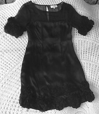 Black silk cocktail party dress by JOVONNA London Size S 8 Floral trim