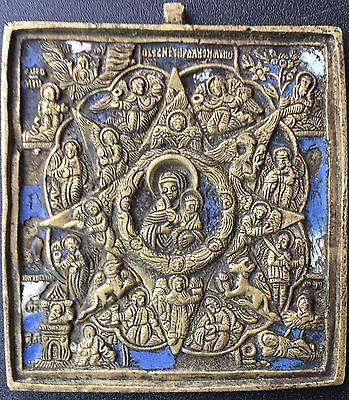 Alte russische Metallikone Gottesmutter unverbrennbarer Dornbusch, 19 Jh.Bronze