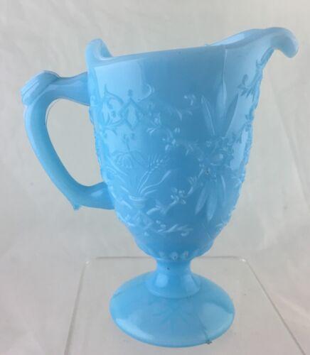 VINTAGE PORTIEX VALLERYSTHAL MILK-BLUE CREAMER RARE FLORAL PATTERN GLASSWARE