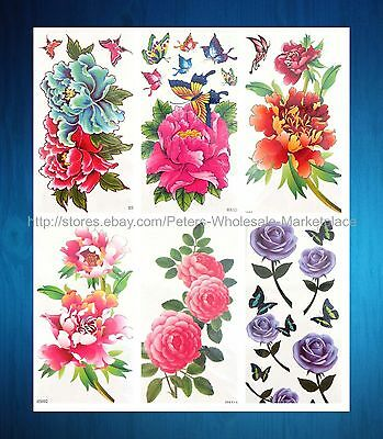 Temporary Tattoos In Bulk (Body art in bulk 6 sheets large flower rose peony temporary tattoo)