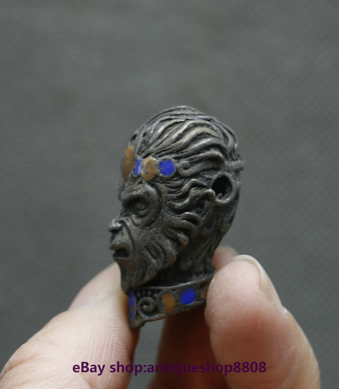 China Miao Silver Gem Handsome Monkey King Head Sun wukong Pendant Amulet