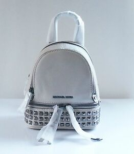 4004fa841664 Michael Kors Cement Leather Rhea Zip XS Pyramid Stud Messenger ...