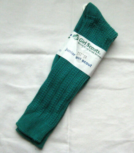 Girl Scout 1990s JUNIOR CREW SOCKS Official Uniform Jade NEW Cable Stitch LARGE