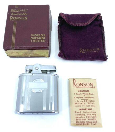 NOS VINTAGE RONSON WHIRLWIND CHROMIUM LIGHTER & BOX & POUCH & INSTRUCTIONS MINT