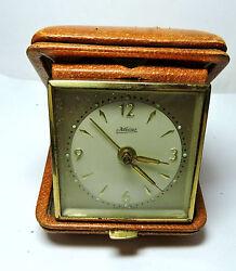 Antique Vintage  Wind Up Made in Germany KAISER Travel Alarm Clock & Hard Case