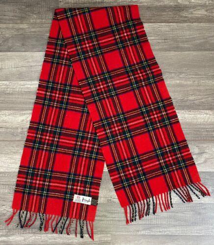 PRINGLE OF SCOTLAND Red Tartan Plaid 100% wool scarf w fringe