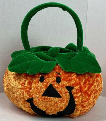 Plush Pumpkin Basket Vintge Chrisha Playful Trick or Treat Jack-O-Lantern #21F
