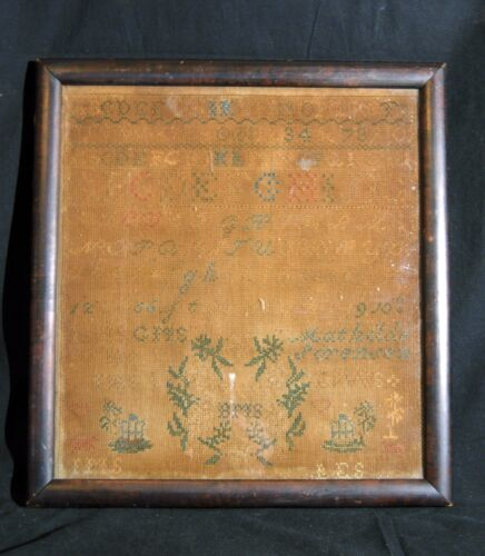 Antique 19th Century Sampler Signed on Back Jane Henderson Framed