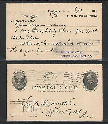 1904 WHITEHEAD BROS CO PROVIDENCE RI ADVERTISING US POSTAL CARD UX18