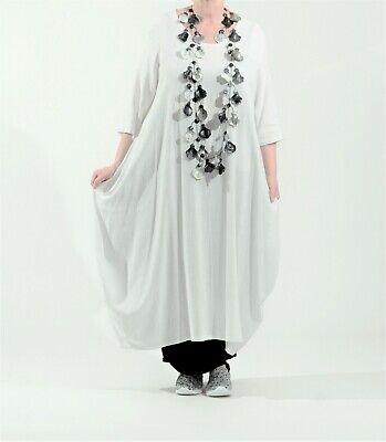 ♦ AKH Fashion Ballon-Kleid Gr. 40,42,44,46,48  weiß, Leinen/Viskose ♦ Kleid, Fashion Kleid