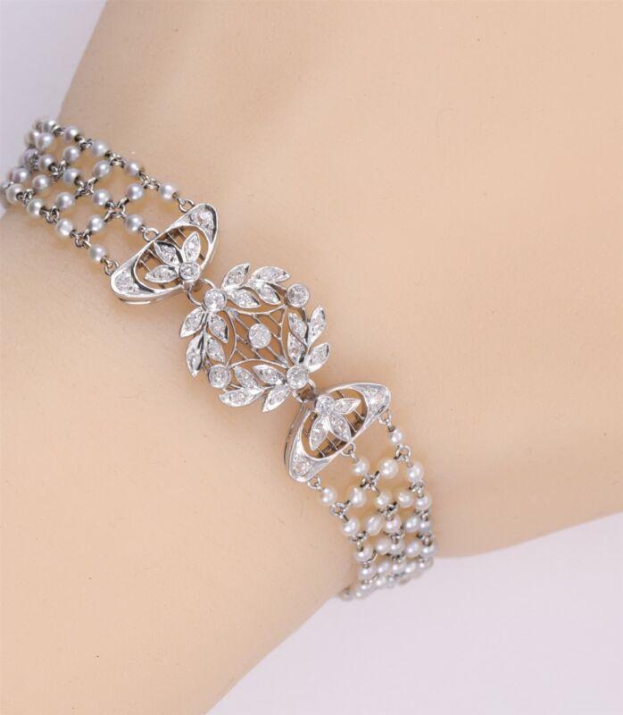 Antique Platinum and Euro Cut Diamond and Natural Pearl Bracelet