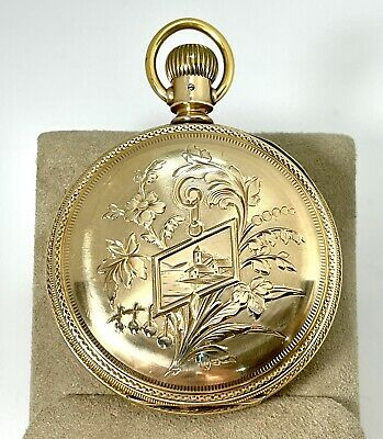 RARE 14KY P.S. BARTLETT AM WATCH CO WALTHAM POCKET WATCH - ENGRAVED 18S