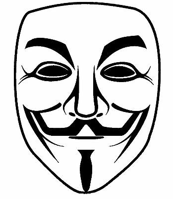 Guy Fawkes Mask Vinyl Decal Sticker Anonymous V For Vendetta Anarchy Car Laptop