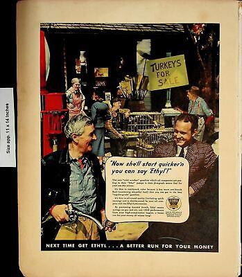 1937 Ethyl Oil Turkeys for Sale Vintage Print Ad 5956