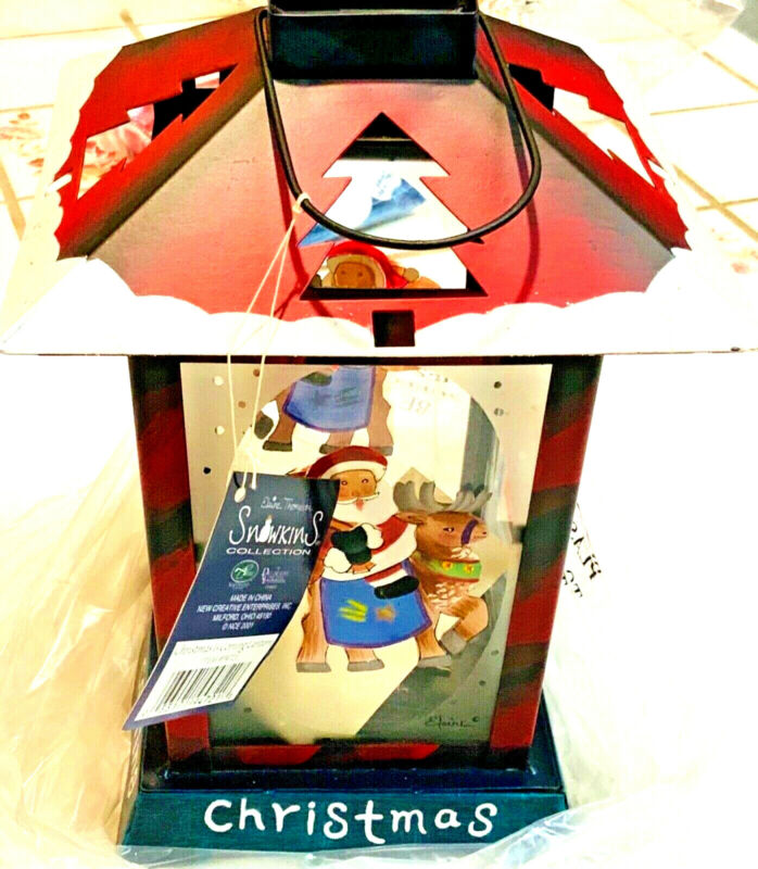 Snowkins Christmas is coming Lantern in box uses votive candle metal cut outs