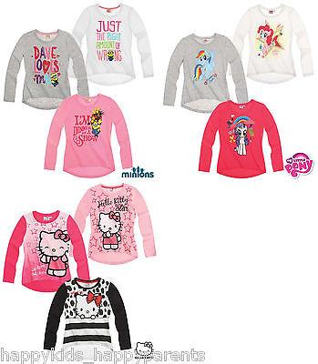 Girls MINIONS My Little Pony HELLO KITTY Long Sleeve Top CHARACTER T- Shirt