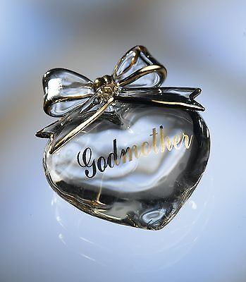 (Godmother Gift Crystal Heart in Message Gift Box  )