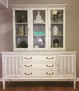 Chalk painted buffet and Hutch