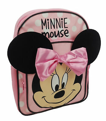 Pink And White Minnie Mouse (Disney Minnie Mouse Pink and White Spotty Backpack Bow Girls School Bag)