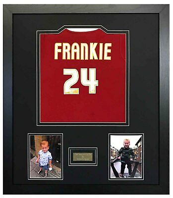 SHIRT FRAME FOR CHILDS FOOTBALL, ANY SHIRT + ENGRAVED PLAQUE WITH YOUR WORDING