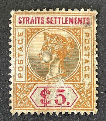 Malaysia Straits Settlements 1892-99. $5 Orange & Carmine (used?)