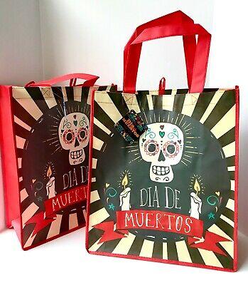 Dia De Los Muertos Shop (2 PC Day Of Dead SUGAR SKULL Dia De Los Muertos Reusable Shopping Bag Candle)