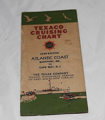 1939 Texaco Cruising Chart Atlantic Coast Texaco Waterways Service
