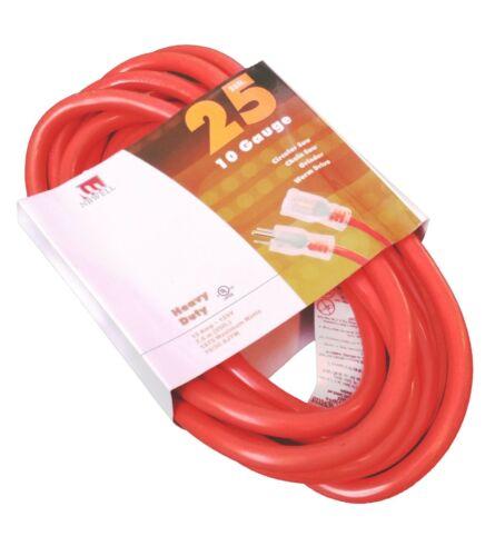 25-Foot 10 Gauge Extension Cord UL Lit End 3 Wire 10/3 Heavy Duty Ft Feet